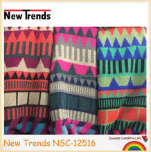 Nice colors geometric pattern tribal cashmere shawl scarf