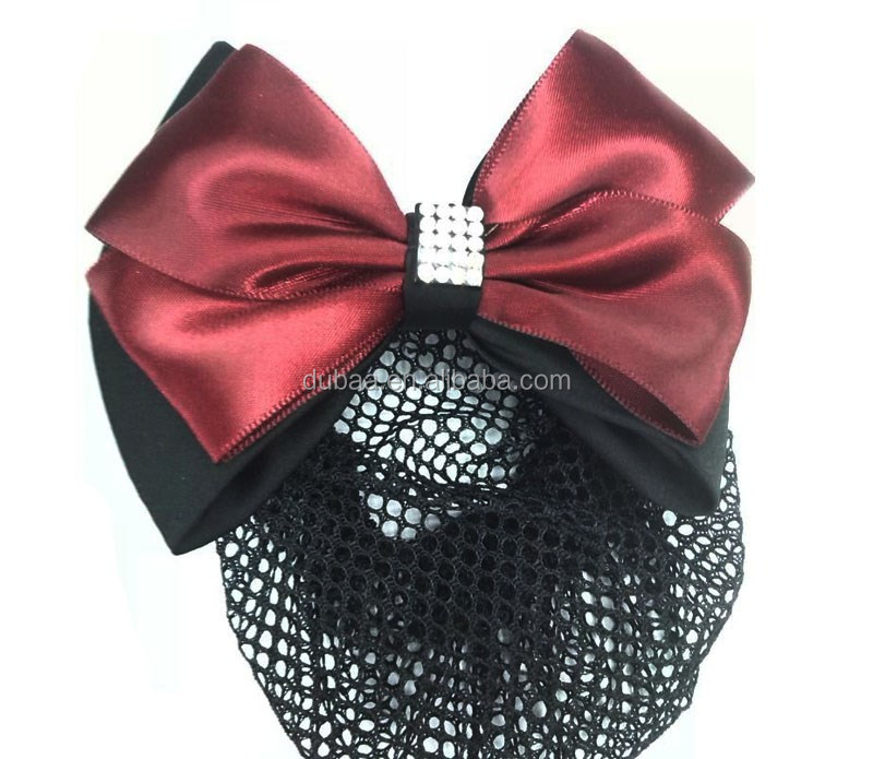 Net Bow Ribbon Crochet Bun Net Holder Snood Diamante Hair Clip