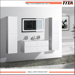 Super white Tempered glass top bathroom furniture T9319