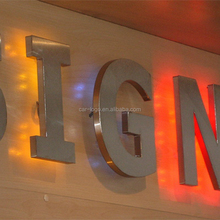 wall mount business stainless steel led shop advertising letter signboard