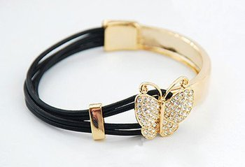 Fashion jewelry butterfly shape Half Cuff Metal And Leather Bracelet