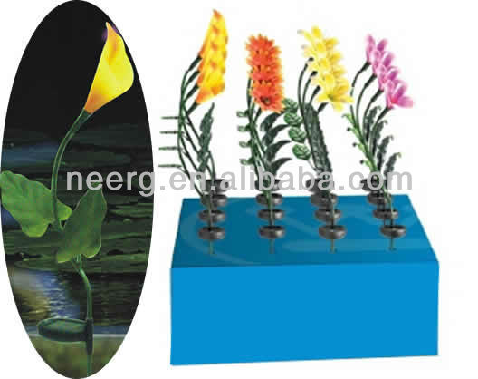 16-PC (PDQ) Mixed Floor Display Fiber Optic Flower Solar Stick Light