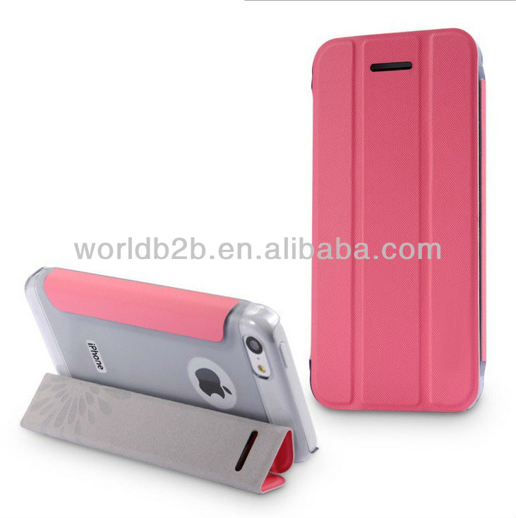 High Quality Stand Leather Case Cover For iPhone 5c mini Lite, with 3 folds