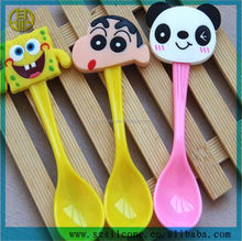 Natural Bamboo Baby Silicone Spoon Red,Orange,Green,Yellow,Blue silicone soup spoon