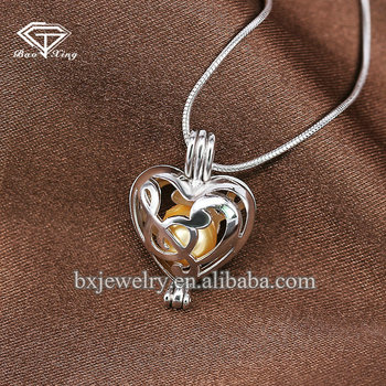 Innovative products 2017 charm rhodium plating silver 925 note cage pendant