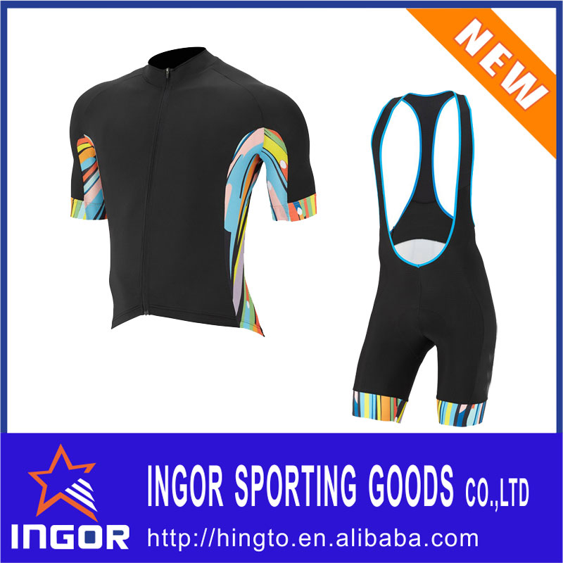 Custom men cycling clothing set / cycling jersey and bib shorts set