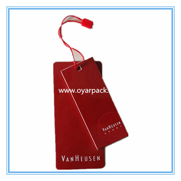 customized printed red paper cardboard clothes label