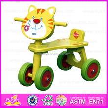 2016 Promotional Kids wooden walking toy,Funny children ride on tricycle toy,Lovely Cat design baby wooden tricycle toy W16A001