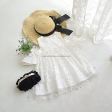 Small MOQ little girl strapless fashion dress girl's summer white lace dresses