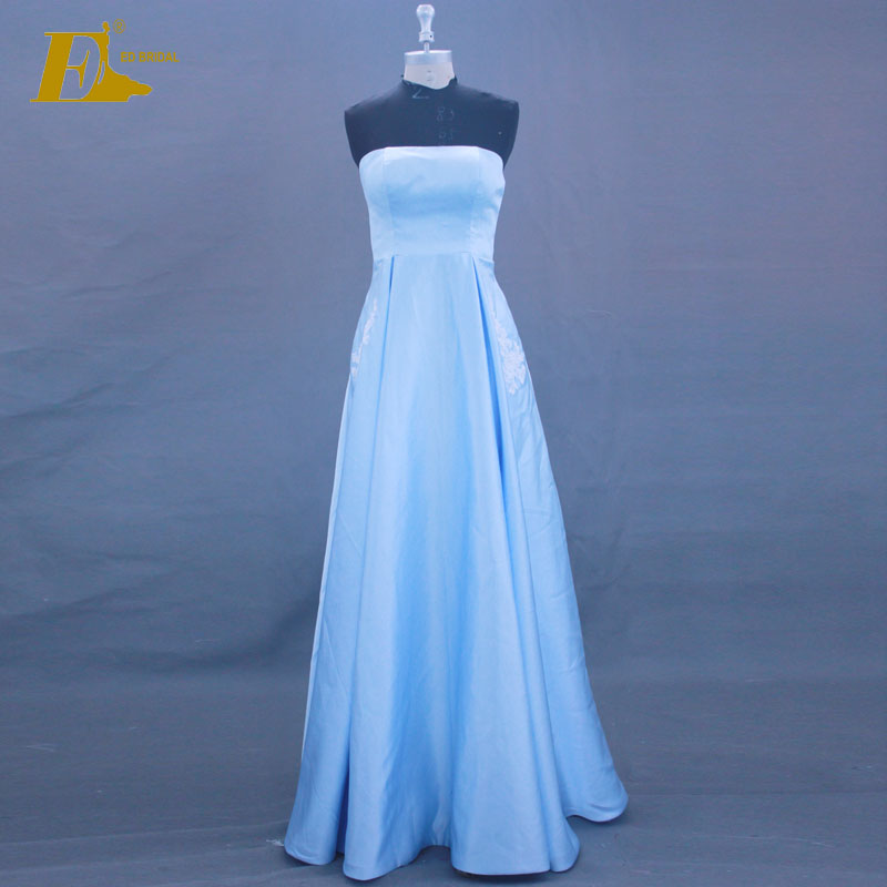 Latest Design Strapless Sleeveless Applique Pockets Blue Long Girls Prom Dress