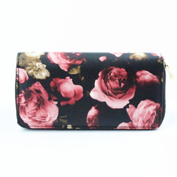 printing pu Leather fitting CE,ROHS copper zipper Leather women wallet