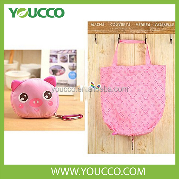 Large Polyester Folding Bag Shopping Bag / Foldable Zipper Shopping Tote Bag