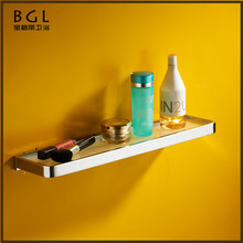 85137 Sanitary Hardware Bathroom Accessories Set Single Tier Brass Material Bathroom Glass Shelf