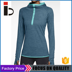 Polyester spandex Women fitness Polyester Women top with hood