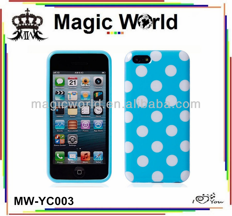Cute Polka Dot hard mobile phone cover for iphone 5c