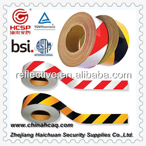 Engineering grade slant strip reflective tape,reflective hazard warning tape