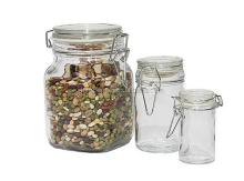 50 Oz Clear Glass Bale Wire Jars Air Seal Lid