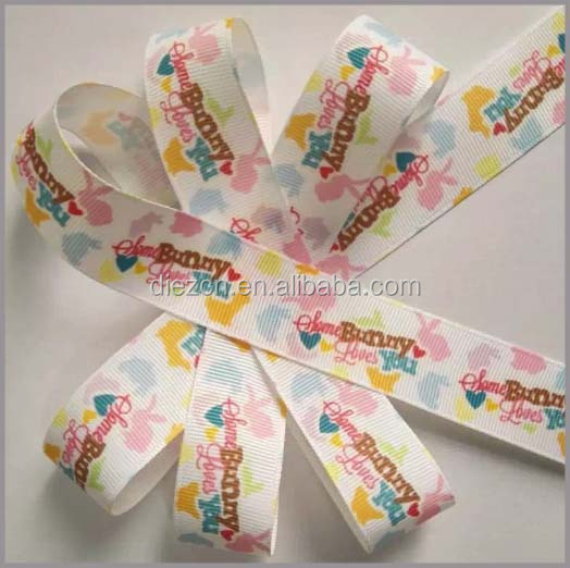 Factory wholesale DIY Handmade Jewelry Accessories Decoration Colors Printed Rib Belt white Ribbon and bow
