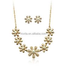Dubai gold jewelry set flower jewelry made in thailand necklace and earring set
