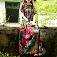 Cotton and Linen Summer Dress Floral Loose Ethnic Women Long Dress.