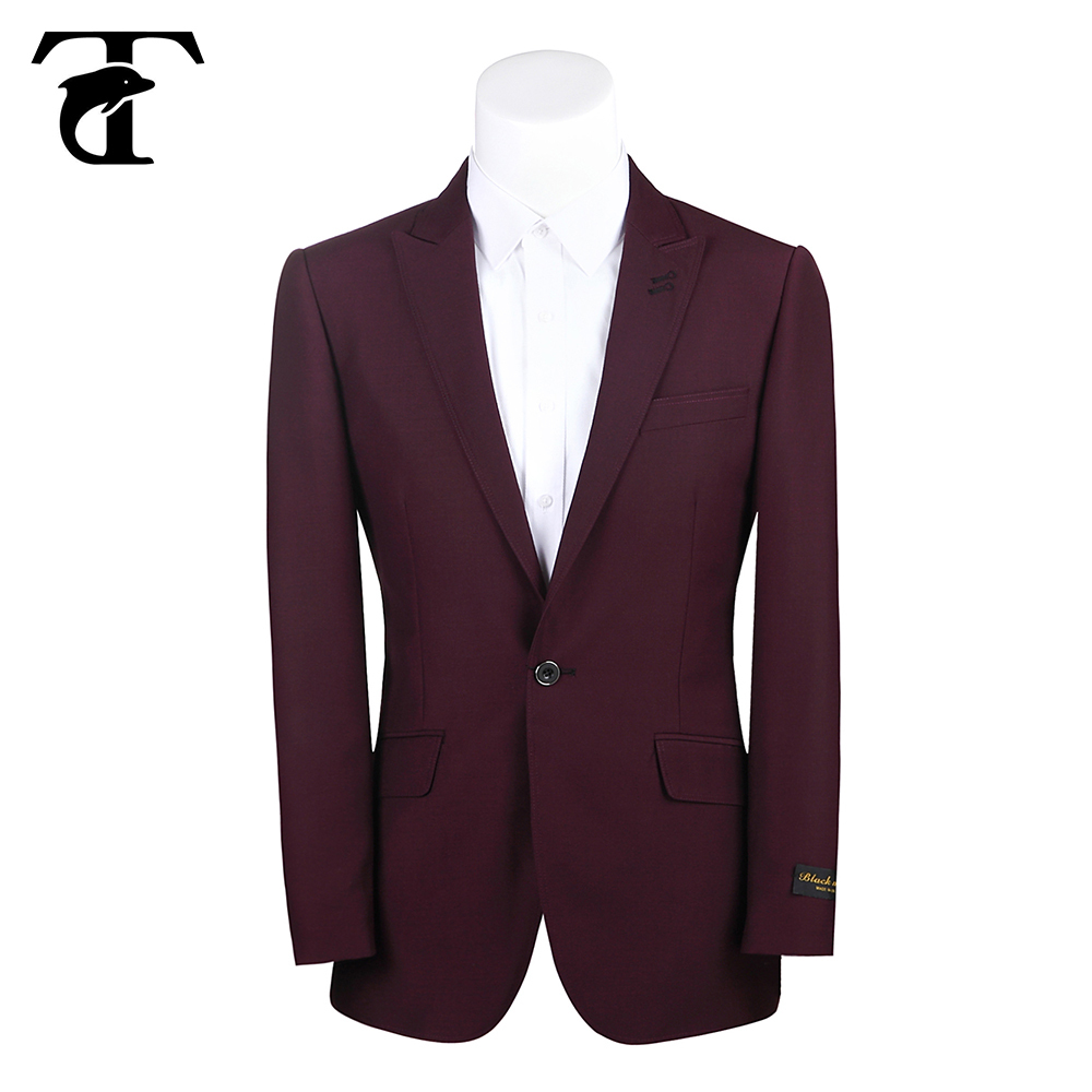 New style wine red color wedding dress suits for men