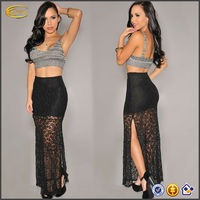New sexy Black Flower Lace Crochet Maxi Skirt Evening Cocktail Party Hot Club girls lace long skirt OEM supplier China