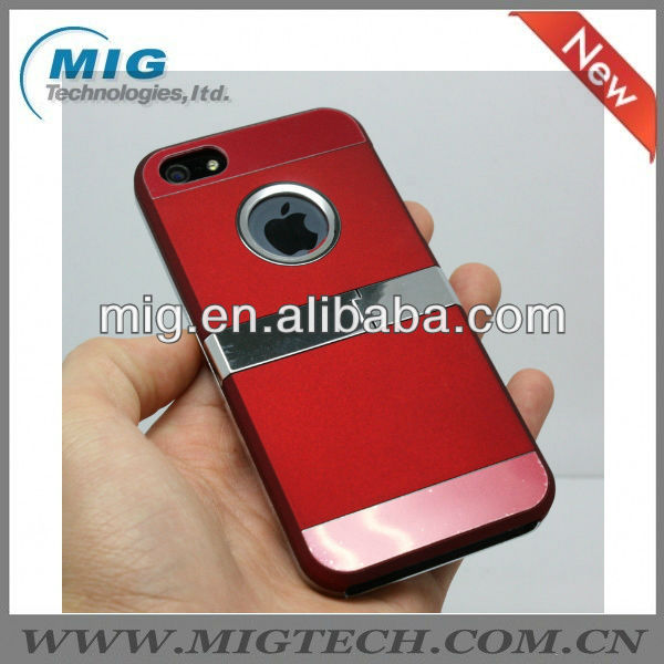 Red Chrome Rubberized case for iphone 5S, for iphone 5 case with kick stand