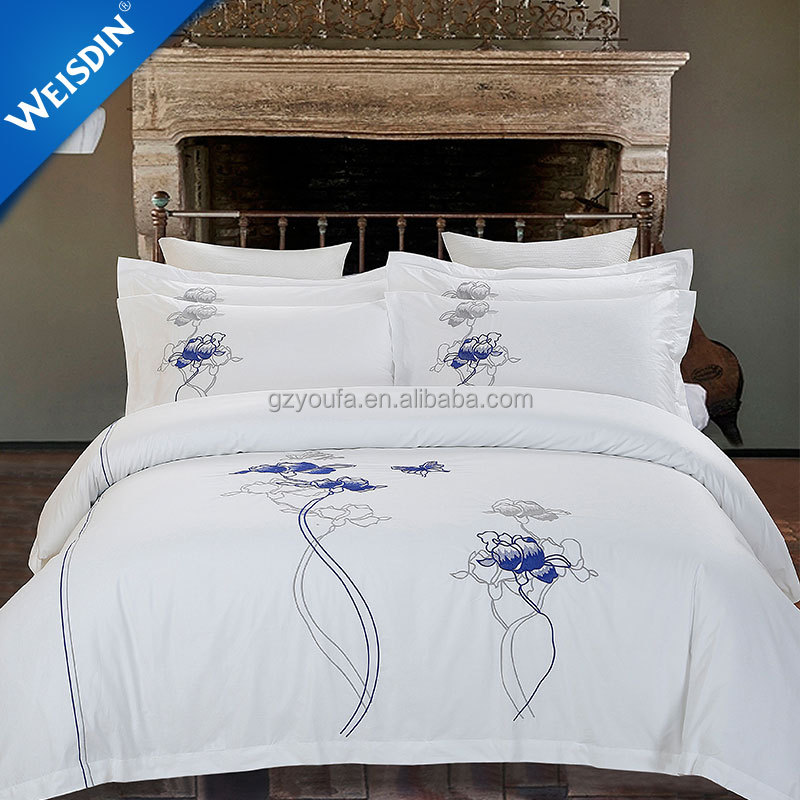 China wholesale sateen embroidered white bed linen bedsheets bedding sets luxury hotel 100% cotton bedding set