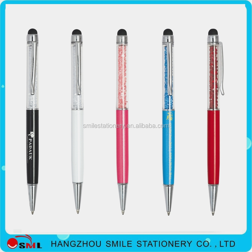 best popular wholesale plastic feature metal crystal touch pen