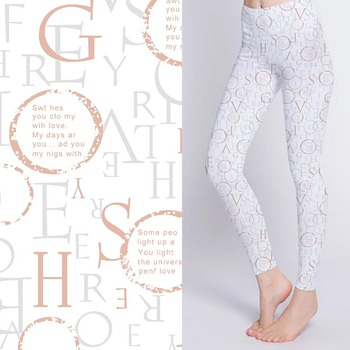 Soft digital printed cotton spandex stretch fabric with English alphabet pattern for sports