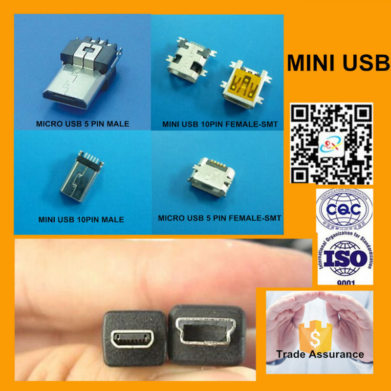 5 Pin 10 Pin Mini Usb Connector For Male And Female - Buy Usb ...