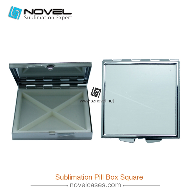 Professional manufactory wholesale metal sublimation square pill box