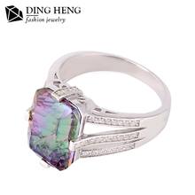 China supplier fashion design wholesale mystic topaz 925 silver ring with purple stone