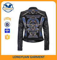 ladies tops latest design embroidered jacket motorcycle leather suit