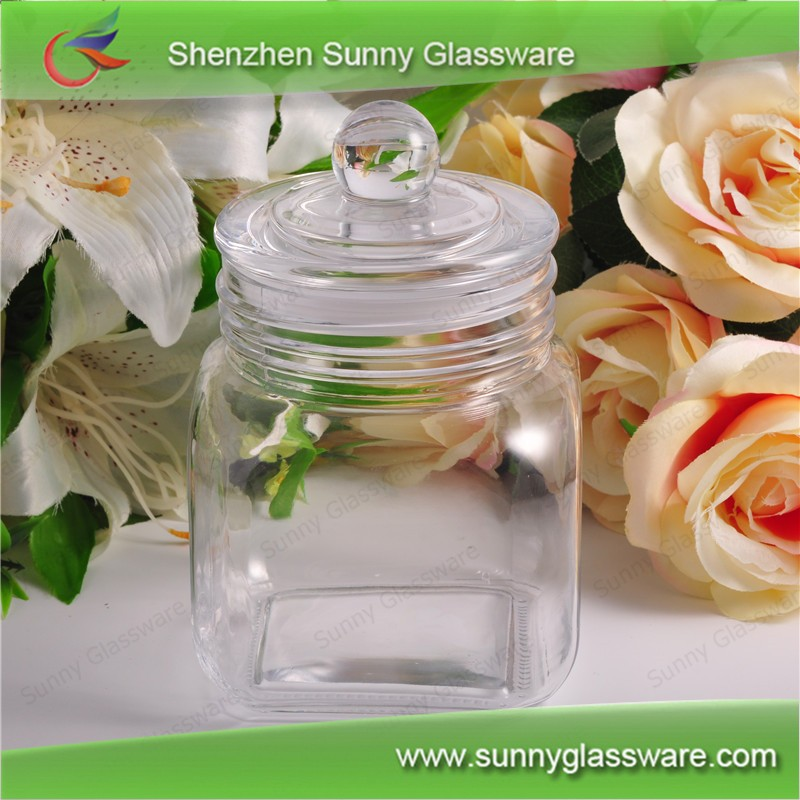 Clear Cube Glass Food Storage Jar With Glass Lid