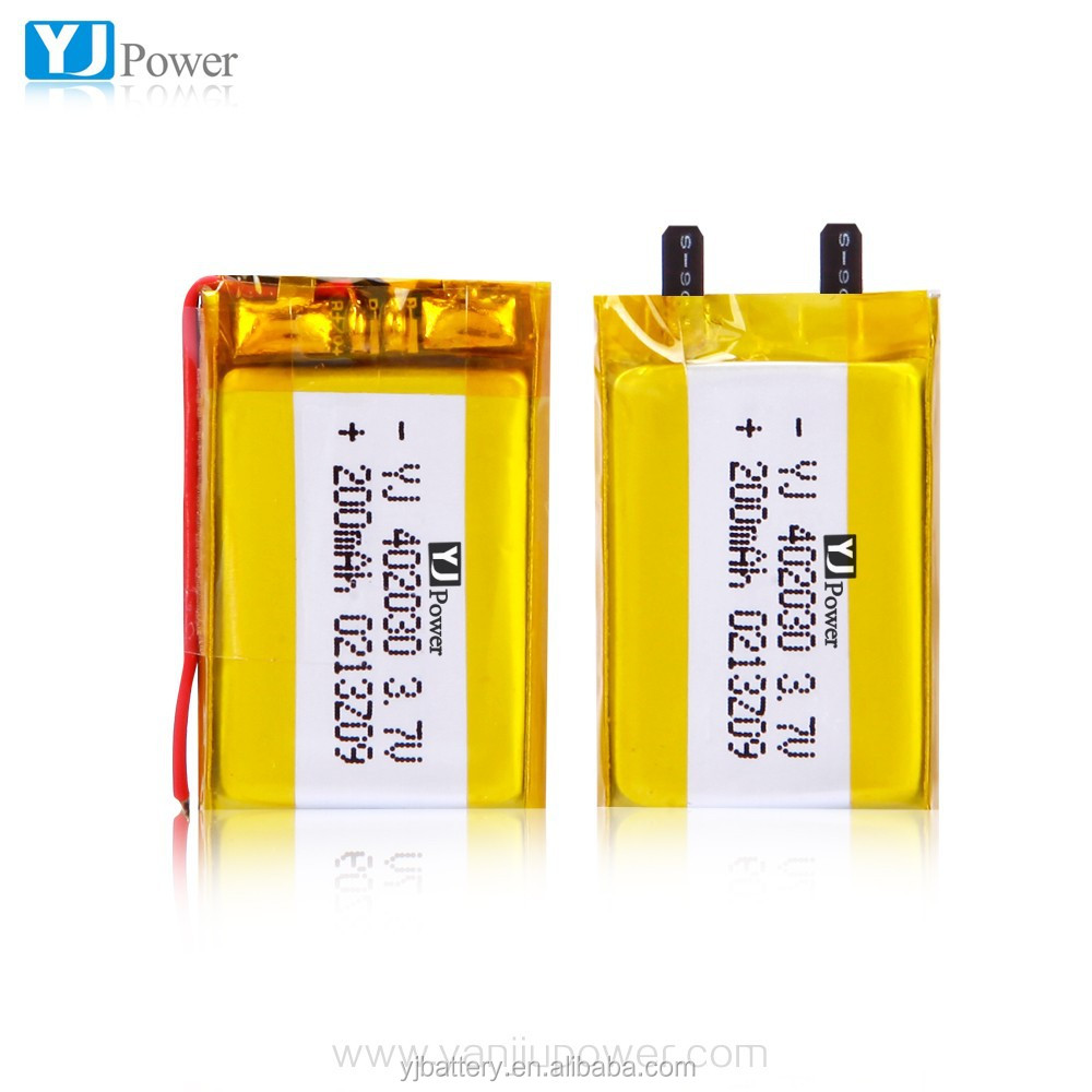 Rechargeable lithium-ion polymer battery cell 402030 200mah 3.7v lipo battery for rc toys