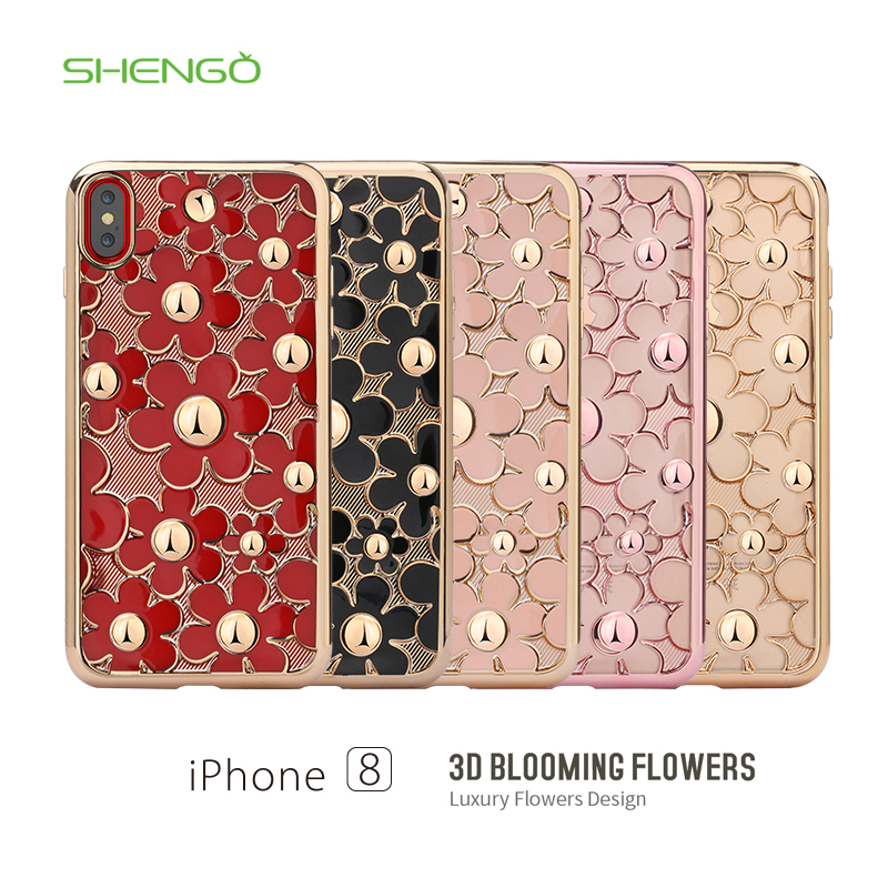 Shengo Bling Daisy Flower Protective Cover Electroplating Crystal TPU Case for iPhone 8