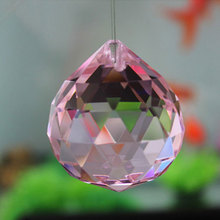 Pink waterdrop shape crystal chandelier ball