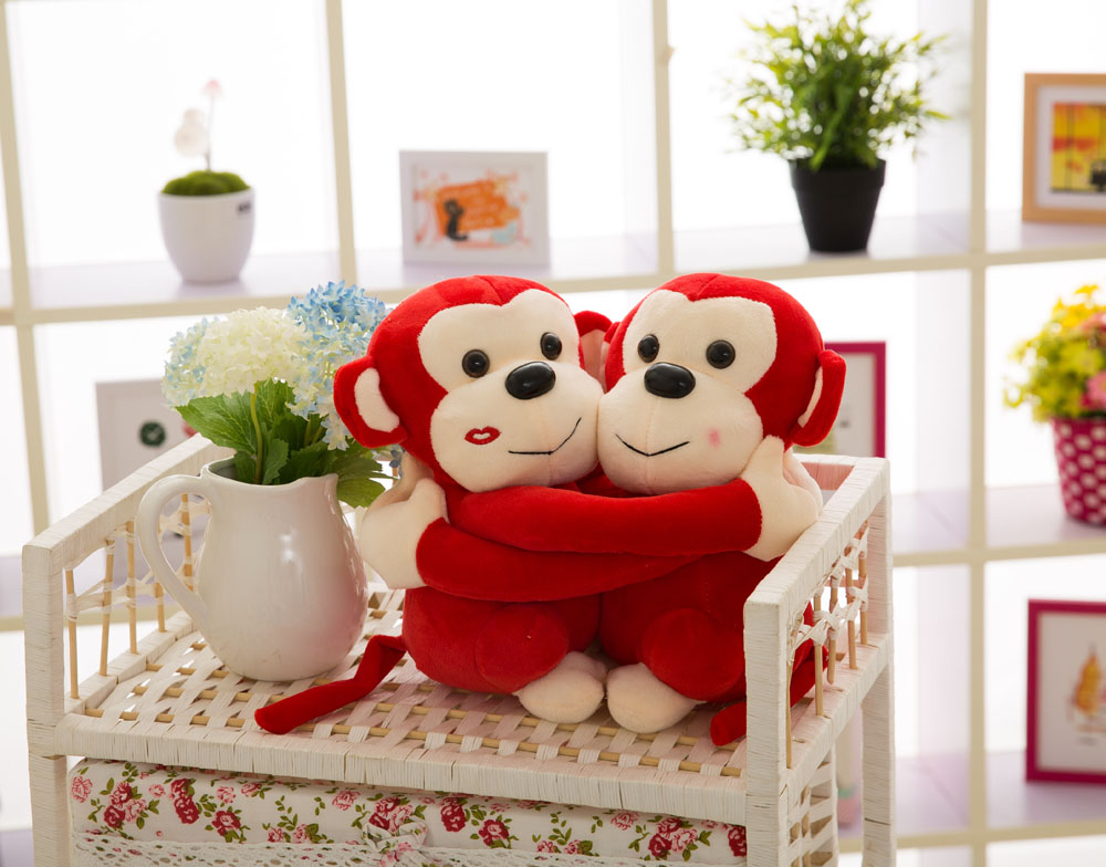 25/35/45cm romantic New design customized plush embracing monkey animal doll toy with long arms&legs(red)
