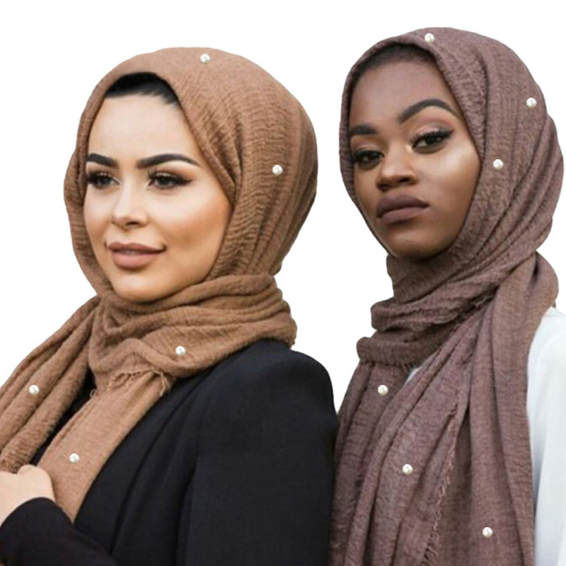 Wholesale 55 Colors In Stock Hot Arab Hijab Solid Plain Pleated Muslim Pearl Hijab For Women