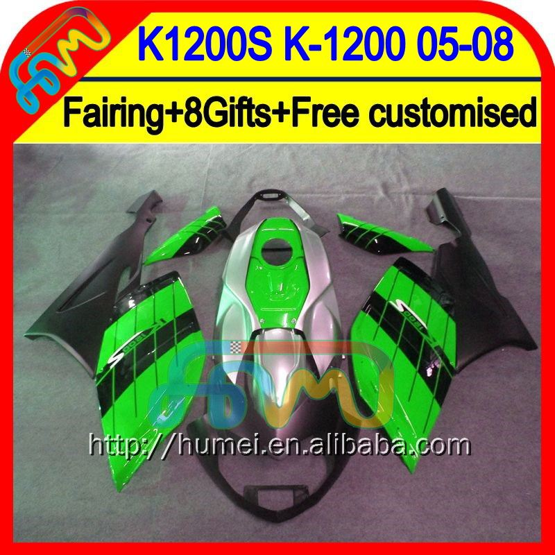 8Gifts For BMW K1200S 05-08 K1200 S Green black K1200S 05 06 07 08 1HM28 <strong>K</strong>-1200 <strong>K</strong> 1200 S 2005 2006 2007 2008 Fairing Green blk
