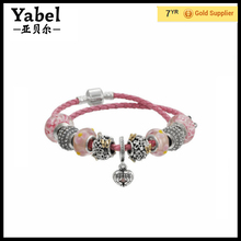 Alibaba Ru Double Pink Genuine Leather Luxury Charms Beads Fit European Bracelet & Jewelry for Women Italian Mesh Bracelet