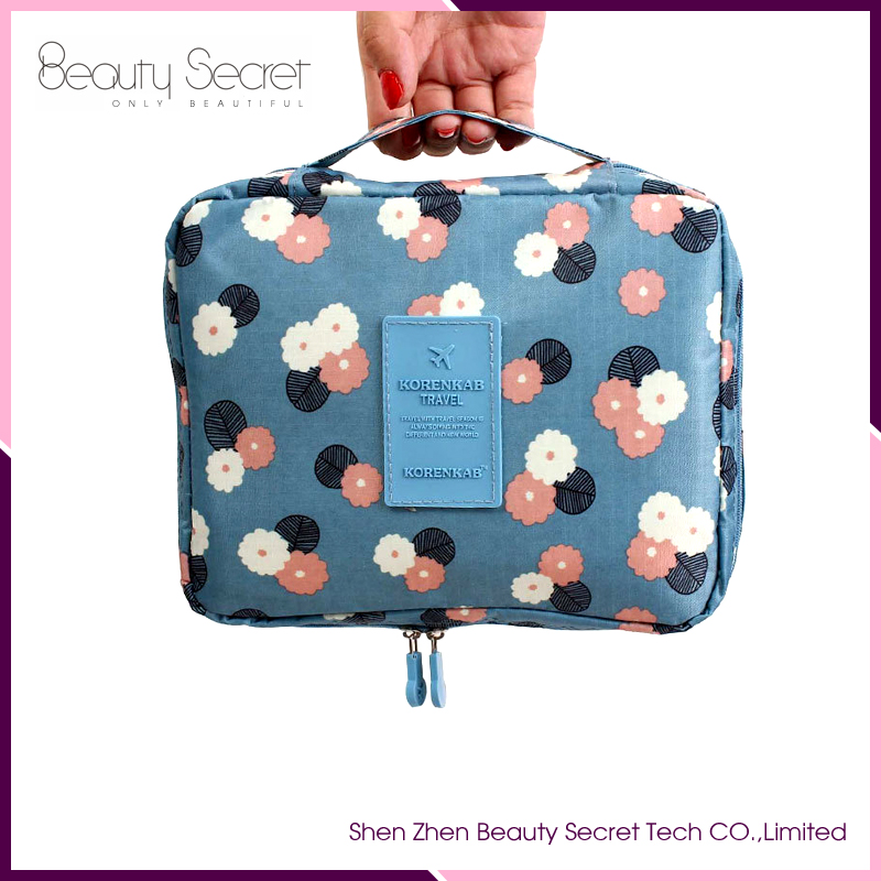 Make up travel cosmetic bags blue protable cosmetic bag