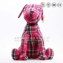 Lovely red plaid soft plush dog pillow toys for living room decoration