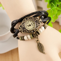 Elegance Vintage Ladies Casual Leather Wrapped Bracelet Watch with leaves