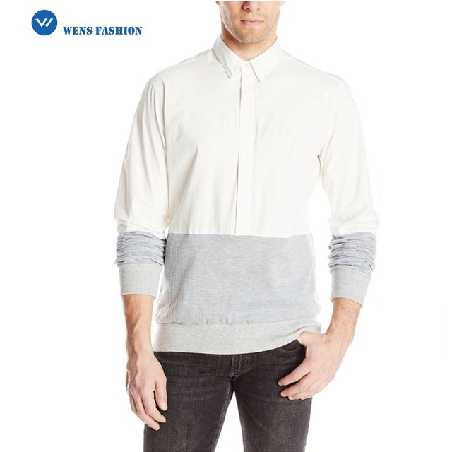 Fashion Men's Stretch Poplin Hybrid Long Sleeve Button Down Shirt