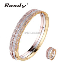 Brass Cubic Zirconia Jewels Pave Setting Bangle Ring Set Jewelry Metal