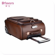 Manufacture price coulor-changeable pu trolley&luggage bag abs & pc luggage bag useful pu luggage set best fashion made in China