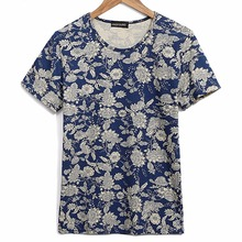 Customized 100% active cotton full allover floral discharged print men t shirt