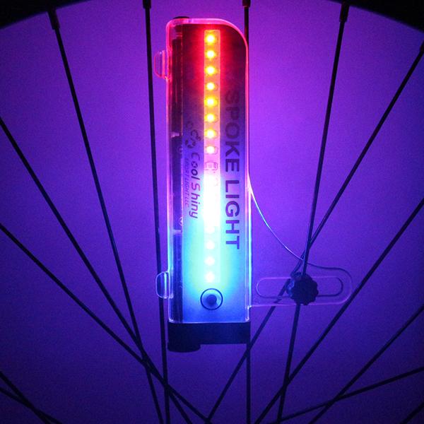 New Bike Bicycle Tire Valve 16 LED Flash Wheel Spoke Light 32 kinds Patterns